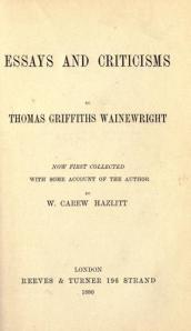 The title page of W. Carew Hazlitt's edition of Wainewright's works.